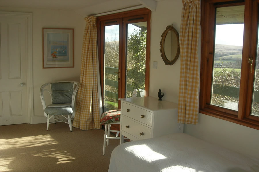 Bedroom with views accross Exmoor valley